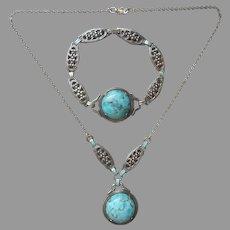 ca 1930 Sterling Silver Turquoise Blue Glass Necklace Bracelet Vintage