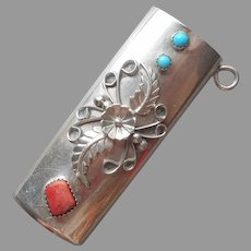 Navajo Sterling Silver Lighter Case Pendant Turquoise Coral Color Spiny Oyster