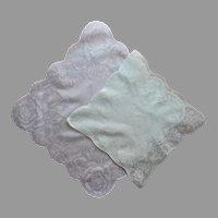 Shadow Print Hankies Ice Green White Vintage Printed Cotton Hankie