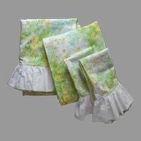 1970s Sheet Set Springmaid Wondercale Vintage Bright Green Print Double Full