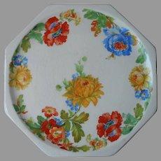 Tea Trivet Vintage Harker Melrose 1930s Poppies Chrysanthemums Porcelain