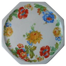 Tea Trivet Vintage Harker Melrose 1930s Poppies Chrysanthemums Porcelain