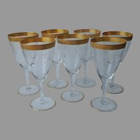 Cambridge 701 Water Goblets Gold Encrusted Etched Wine Glasses Vintage