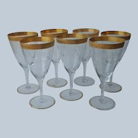 Cambridge 701 Water Goblets Gold Encrusted Etched Wine Glasses Vintage