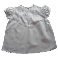 Baby Dress Hand Embroidered Vintage 1950s All White