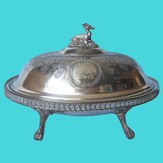 Victorian Butter Dish Oval Silver Plated Antique Engraved Mrs. J.A. Jewell