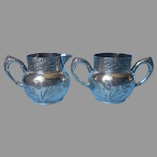 Victorian Sugar Bowl Creamer Silver Plated Antique Morning Glories