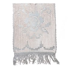Antique Lace Curtain Panel Narrow Roses Fringe 61.5 x 20.5 Inches