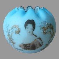 Victorian Rose Bowl Unusual Portrait Blue Satin Antique Large