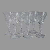Duncan And Miller Lily Of The Valley Cordial Sherry Wine Glasses Vintage 6 Cut