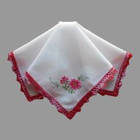 Petit Point Embroidery Vintage Hankie Crocheted Lace Bright Pink