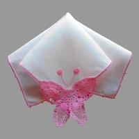 Butterfly Crocheted Lace Linen Hankie Handkerchief Vintage Pink