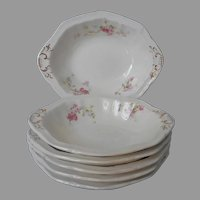 Johnson Brothers Pink Roses Antique 6 Oval Sauce Fruit Dishes Bowls