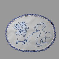 Nursery Doily 1920s Blue Work Hand Embroidery Vintage Teddy Bear