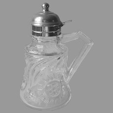 Antique Syrup Dispenser Pitcher EAPG Pressed Glass