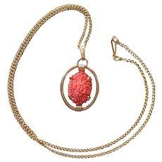 Faux Coral Pendant Necklace Molded Plastic Roses Gold Tone Vintage