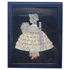 1920s Ribbon Art Girl Picture Frame Vintage Yellow Satin Ribbon Roses Lace