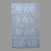 Filet Crocheted Lace 4 Inserts and Rectangular Bread Tray Doily