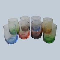 Mid Century Sipping Whiskey Glasses Multi Colored Vintage Set 8