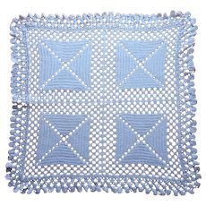 Crocheted Lace Topper Square Centerpiece Doily Very Vintage