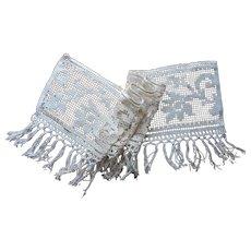 Deep Net Lace Curtain Trim Fringe ca 190 Antique A Bit TLC
