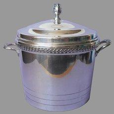 Ice Bucket Silver On Copper Milk Glass Liner Vintage