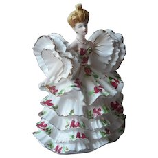 Lefton Model 400 Figurine Ruffles For Days Vintage Big Updo Hair Porcelain TLC