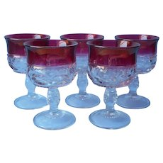 Tiffin Cranberry Ruby Stain 5 Small Goblets Vintage Cordial Cocktail 3 Ounce