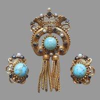 Florenza Pin Earrings Set Tassel Turquoise Glass Vintage Faux Pearls Garnets