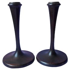 ca 1920 Wooden Candlesticks Pair Wood Antique Simple