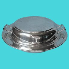 3 Piece Serving Dish Silver Plated On Copper Vintage Divided Insert Convertible
