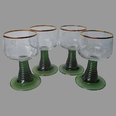 Roemer Glasses Green Stem Grapes Wheel Cut Gold Rims 4 Vintage