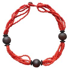 Glass Wood Beads Necklace Orange Brown