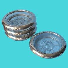 Classic Coasters Vintage Glass Silver Plated Collars Leonard Set 4