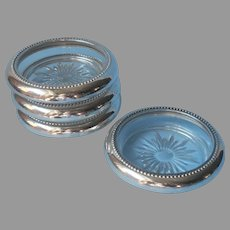 Classic Coasters Vintage Glass Silver Plated Collars Blackinton Set 4