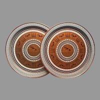 Pair Mid Century Tin Trays Tray Copper Black White Grecian Fabcraft