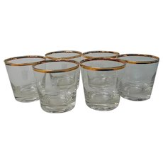 Canadian Club Whiskey Glasses Vintage Set 6 Rocks Old Fashioned 8 Ounce