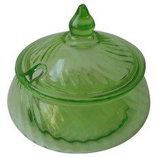 Depression Preserves Jar Hocking Spiral Green Notched Lid Vintage Glass