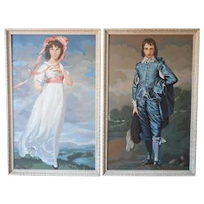 Big Paint By Number Pair Framed Paintings Blue Boy Pinkie Whitewashed Wood Frames
