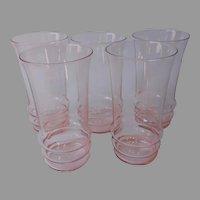 Pink Tumblers Glasses Vintage Dunbar 1112 Vintage Depression Era