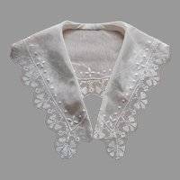 ca 1920 Lace Collar Embroidered Net Filet Lace Antique