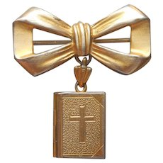 Lord's Prayer In Bible Locket On Bow Pin Very Vintage