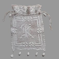 Monogram K Antique Reticule Purse Filet Crocheted Fleur De Lis
