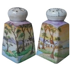 Nippon Shakers Salt Pepper Cottage Lake Trees Hand Painted Te Oh Antique Porcelain