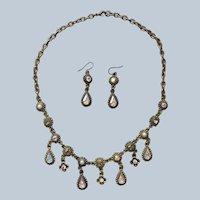 1990s Necklace Pierced Earrings Dangle AB Gray Rhinestones Faux Pearls