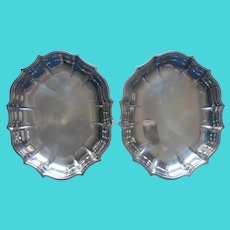 2 Small Chippendale Tray Dishes International Silver Plated Vintage