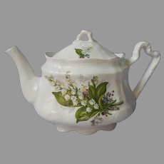 English Teapot Arthur Wood and Son Lily Of The Valley Vintage