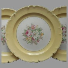 Plates To Hang Yellow Rims Floral 3 Vintage Ready With Brass Hangers