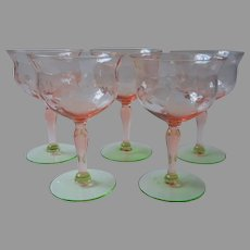 Watermelon Wine Champagne Glasses Pink Green Vintage Roses Cut Floral Diamond Optic