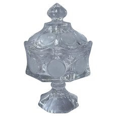 Fostoria Coin Candy Box Lid Pedestal Vintage Crystal Clear